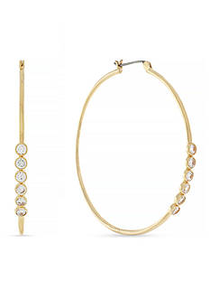Jessica Simpson Gold-Tone Cubic Zirconia Hoop Earrings
