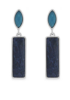 Jessica Simpson Silver-Tone Gypsy Birdsong Rectangle Drop Earrings