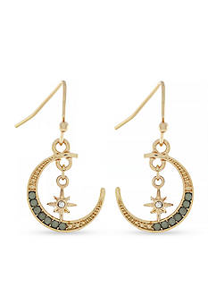 Jessica Simpson Gold-Tone Crescent Moon and Star Drop Earrings