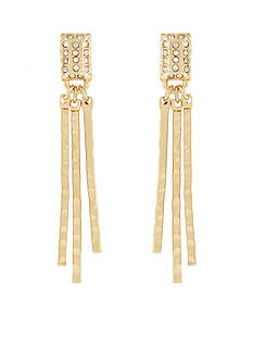 Jessica Simpson Gold-Tone Hammered Metal Crystal Square Drop Earrings