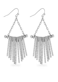 Jessica Simpson Hammered Metal Fringe Drop Earrings