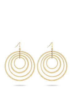Jessica Simpson Hammered Metal Hoop Drop Earrings