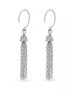 Jessica Simpson Silver-Tone Hoop Dreams Tassel Drop Earrings