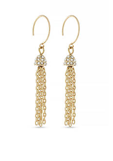 Jessica Simpson Gold-Tone Hoop Dreams Tassel Drop Earrings