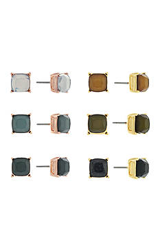 Jessica Simpson Silver-Tone Square 6-Piece Stud Earring Set