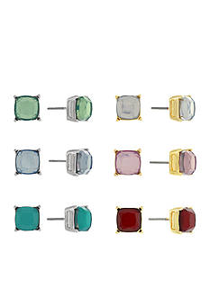 Jessica Simpson Silver-Tone Colorful Stud Earring Set