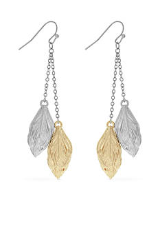 Jessica Simpson Two-Tone Mixed Metal Feather Drop Earrings