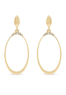 Jessica Simpson Gold-Tone Crowned Drop Earrings