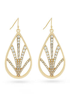 Jessica Simpson Gold-Tone Pave Drop Earrings