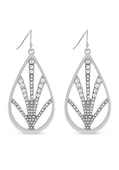 Jessica Simpson Silver-Tone Pave Drop Earrings