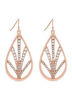 Jessica Simpson Rose Gold-Tone Pave Drop Earrings