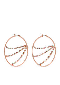 Jessica Simpson Rose Gold-Tone Crystal Pave Hoop Earrings