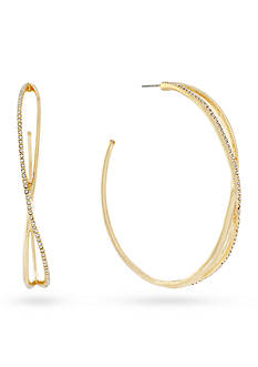 Jessica Simpson Gold-Tone Pave Twist Hoop Earrings