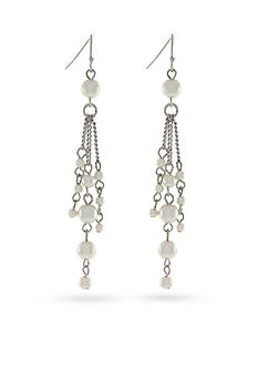 Jessica Simpson Silver-Tone Faux Pearl Drop Earrings