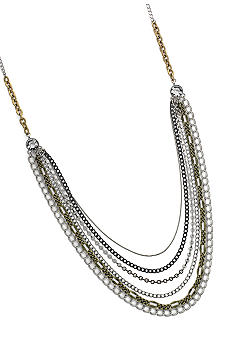 Jessica Simpson Tri-Tone Multi Chain Necklace
