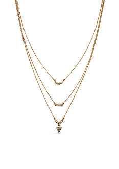 Jessica Simpson Gold-Tone Crystal Arrow Head Layered Necklace
