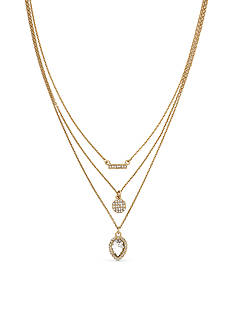 Jessica Simpson Gold-Tone Layer It On Crystal Layered Necklace