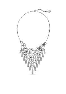 Jessica Simpson Silver-Tone Basic Circle and Tassel Statement Necklace