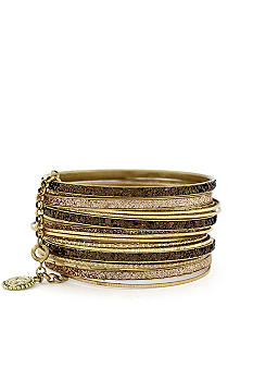 Jessica Simpson Gold Glitter Bangle Set