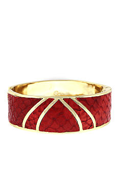 Jessica Simpson Gold and Red Snake Princess Hinge Bangle