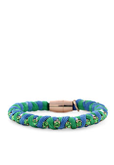 Jessica Simpson Blue and Green Cord Color Wheel Bracelet