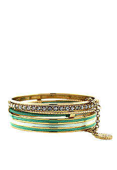 Jessica Simpson Mint and Crystal Colorwheel Bangle Set