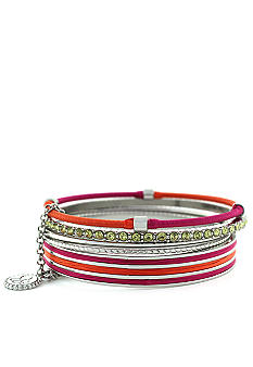 Jessica Simpson Silver and Fuchsia Colorwheel Bracelet Set