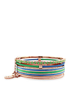 Jessica Simpson Blue and Green Colorwheel Bracelet Set