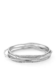 Jessica Simpson Silver-Tone Twisted Pave 5-Piece Crystal Bangle Set