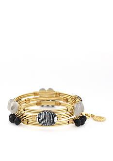 Jessica Simpson Gold-Tone Zebra Wrapped Bangle Bracelet