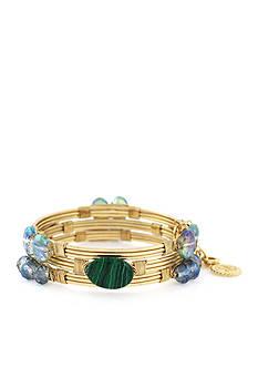 Jessica Simpson Gold-Tone Green Wrap Bangle Bracelet