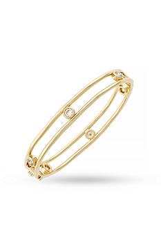 Jessica Simpson Gold-Tone Delicate Metal Stones Oval Bangle Bracelet