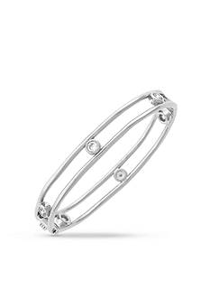Jessica Simpson Silver-Tone Delicate Metal Stones Oval Bangle Bracelet