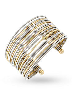 Jessica Simpson Gold-Tone Mixed Metal Stacked Cuff Bracelet