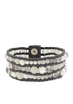 Jessica Simpson Suede Beaded Snap Bracelet