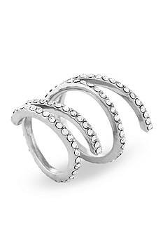 Jessica Simpson Silver-Tone Twisted Pave Ring Set
