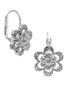 Betsey Johnson Pave Flower Drop Earring