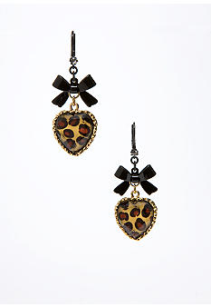 Betsey Johnson Leopard Heart Earring