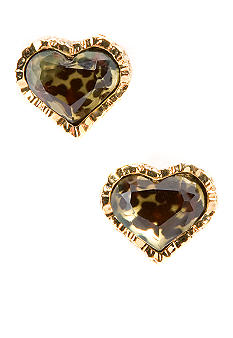 Betsey Johnson Leopard Heart Stud Earring