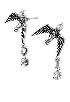 Betsey Johnson Bird Stud & Crystal Drop Earrings