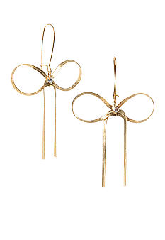 Betsey Johnson Gold Bow Drop Earrings