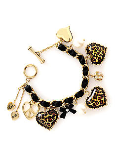 Betsey Johnson Leopard Heart Toggle Bracelet