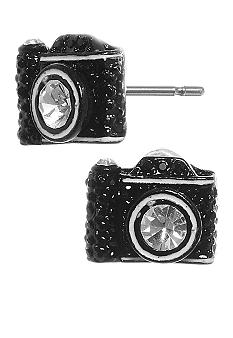 Betsey Johnson Black Camera Stud Earring