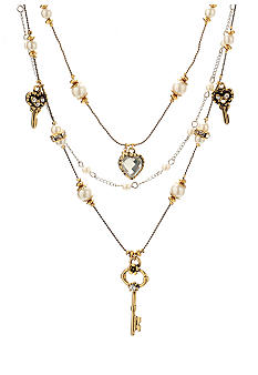 Betsey Johnson Heart & Key Illusion Necklace