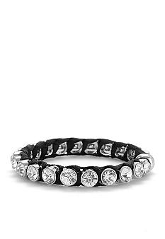 Betsey Johnson Crystal Hinged Bangle Bracelet