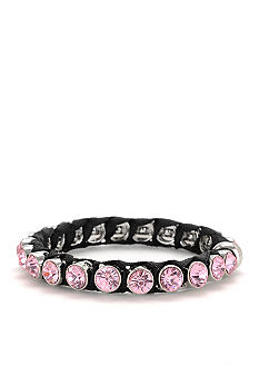 Betsey Johnson Pink Crystal Hinged Bangle Bracelet