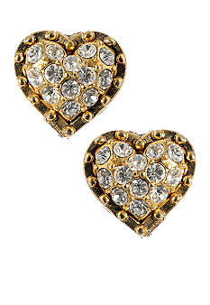 Betsey Johnson Gold Crystal Heart Stud Earring