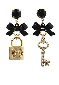 Betsey Johnson Lock & Key Mismatch Drop Earring