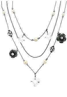 Betsey Johnson Crystal Heart & Flower Illusion Necklace