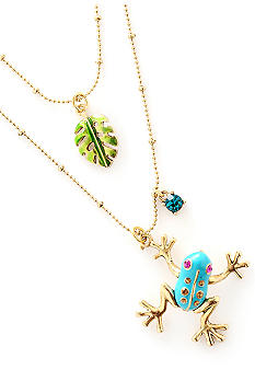 Betsey Johnson Blue Frog & Leaf Necklace